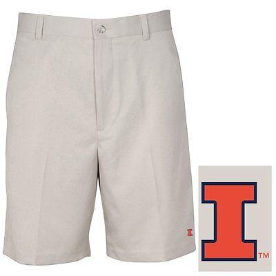NWT NCAA Oxford Golf Fighting Illini Flat Front Super Dry Men's Shorts  30 STONE Fighting Illini Oxford