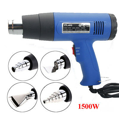 New Heat Gun Hot Air Gun Dual Temperature 4 Nozzles Power Tool 1500w Heater Gun