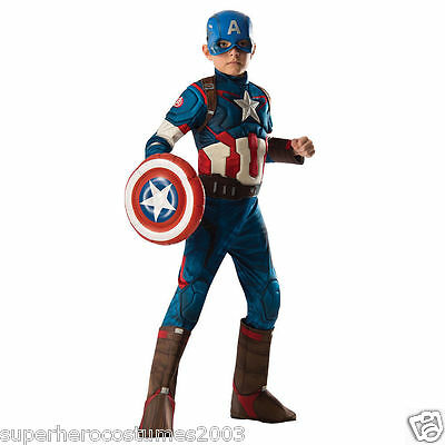Avengers Age Of Ultron Captain America Kostüm Size 8-10 inklusive Schild 610915