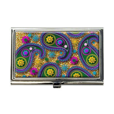 Paisley Print Green Gold Purple Business Credit Card Holder Case