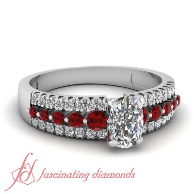 1.10 Ct Cushion Cut Diamond & Ruby Triple Row Pave Set Engagement Ring 14K GIA