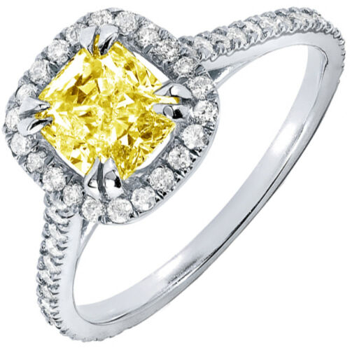 GIA Certified Diamond Engagement Halo Ring 2.75 CT. Fancy Yellow Cushion