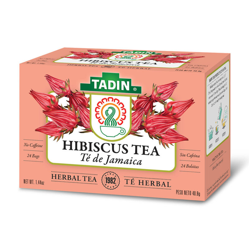Tadin Hibiscus Herbal Tea. Weight Loss Aid. With Antioxidants. 24 Bags. 1.44 oz