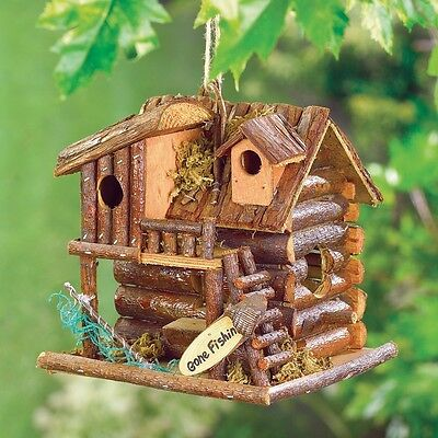 gone fishing rustic log lake cabin Wood fairy garden Bird house birdhouse statue