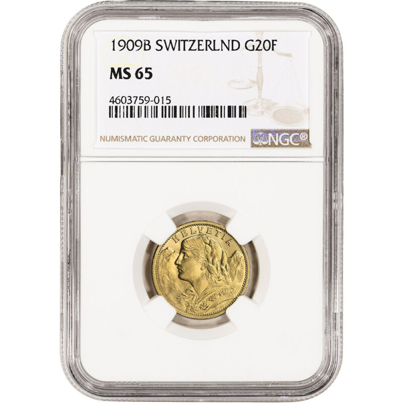 1909 B Switzerland Gold 20 Francs - NGC MS65