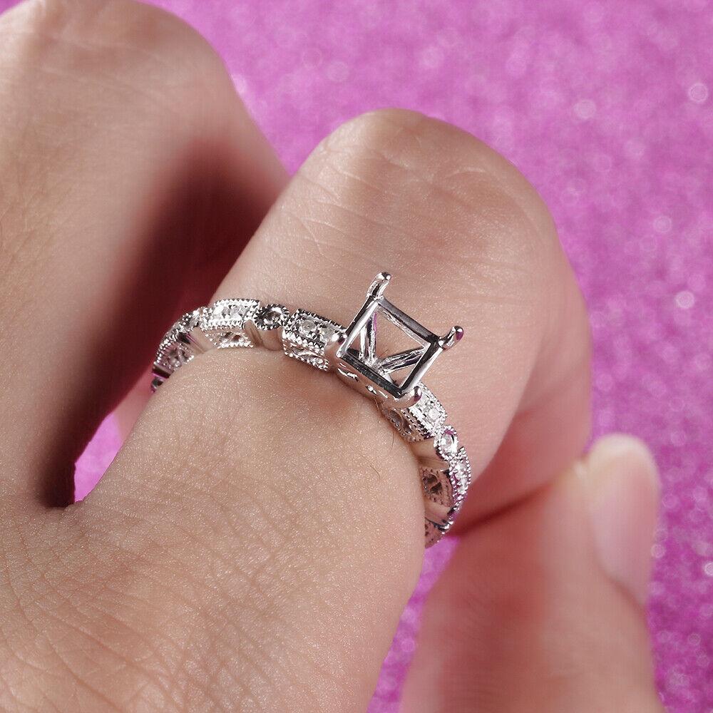 Engraved Filigree 10K White Gold Diamond Wedding Ring 5.5mm Emerald ...