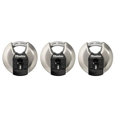 2-34 In. 3-pack Discus Padlock Shrouded Disc Keyed Stainless Steel Silver New