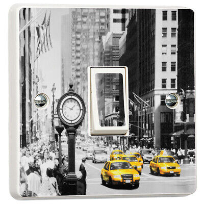 New York Vintage Scene Yellow Taxi Cabs Light Switch Cover Skin Sticker Decal