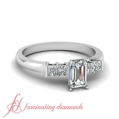 .65 Ct Emerald Cut Conflict Free Diamond 14K Gold Engagement Rings For Women GIA