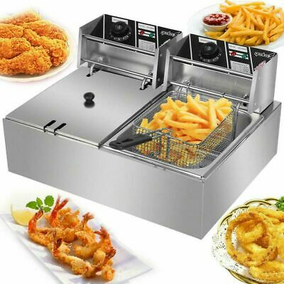 1pc 110v 10l 5000w Electric Deep Fryer Dual Tank Stainless Steel 1 Fry Basket
