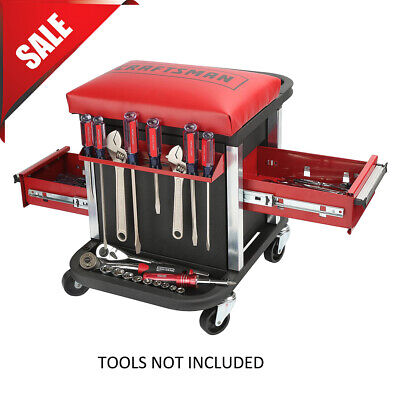 WORK STOOL CHAIR ROLLING CREEPER SEAT TOOLS TRAY HEAVY DUTY MECHANICS AUTO SHOP