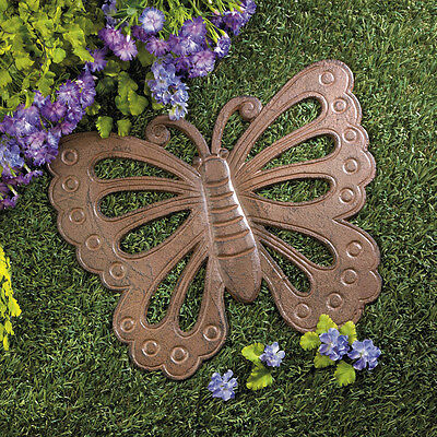 """BUTTERFLY rustic vintage 14"""" CAST IRON outdoor Garden stepping stone path statue"""