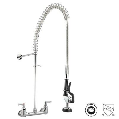 Wall Mounted Swivel Spout 8 Center Pre-rinse Kitchen Faucet Chromed W Flex Hose
