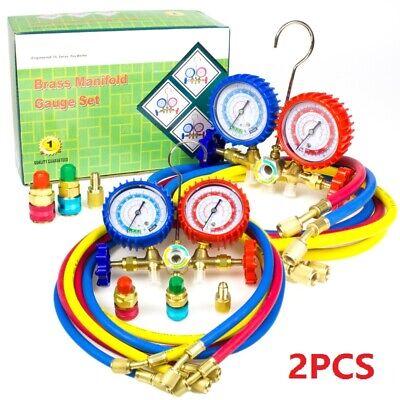 2pcs Ac Manifold Gauge Set Hvac Refrigeration Kit R12 R22 R134a R502 5ft Hose