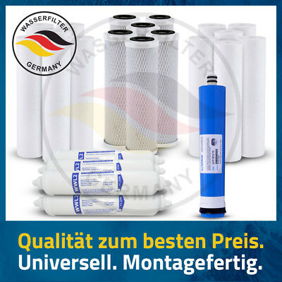 Wasser Ersatz ( 25 Stück Ersatz Wasserfilterset 5 Stufen Umkehrosmose + MEMBRAN USA 75 GPD NSF)