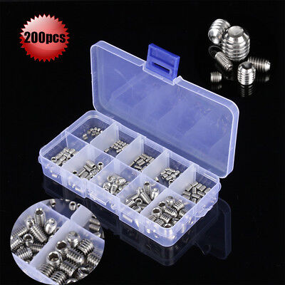 200pcs Stainless Steel Hex Socket Set Screw Grub Screws Assortment Kit M3-m8
