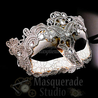 Venetian Brocade Lace Mardi Gras Masquerade Mask with Clear Rhinestones [Silver]