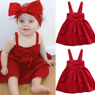 Baby Girl Dress Red Christmas Xmas Santa Claus Clothes Sleeveless Kids Outfits