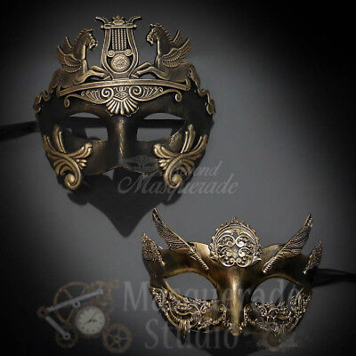 Couples Gold Hercules and Gold Angel Costume Party Masquerade Masks Set](Angel Mask)