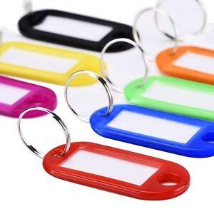 20pcs Plastic Key Ring Tags Name Label ID Key Tag Luggage Fob Ring Colorful US