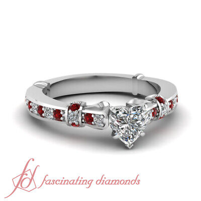 Pave Set Round Red Ruby Engagement Ring For Women 1 Ct Heart Shaped Diamond GIA