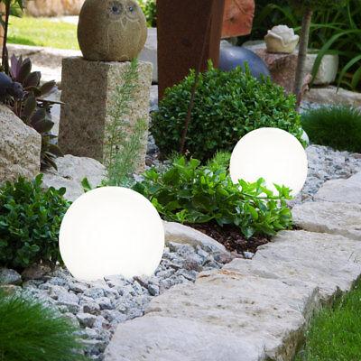 2er Set Solar Steck Leuchten LED Hof Einfahrt Außen Stand Lampen Kugel Design