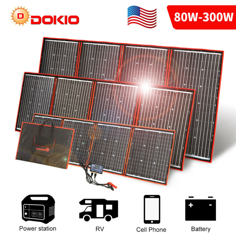 Dokio 100w 200w 300w Foldable Portable Solar Panel for RV/Camping/Power station