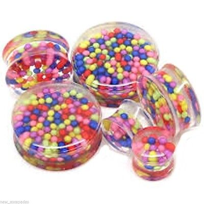 PAIR-Candy Sprinkles Clear Acrylic Double Flare Ear Plugs 14mm/9/16