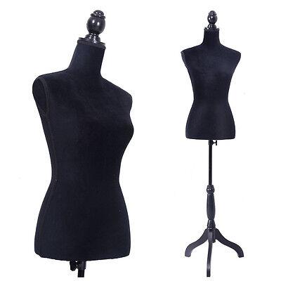 Female Mannequin Torso Dress Form Display Dress W/ Black Tripod Stand Black