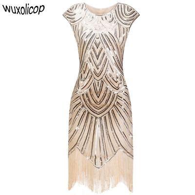 Great Gatsby Kleid O-Ausschnitt Flügelärmel Paillette (1920s Great Gatsby Kleider)