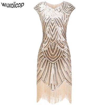 1920s Jahre Flapper Great Gatsby Kleid O-Ausschnitt Flügelärmel Paillette