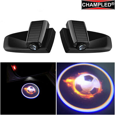 Champled For Football Car Led Door Projector Logo Shadow Lights Emblem Wireless