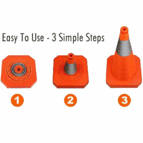4 Pack Collapsible Traffic Cones Multi Purpose Pop up Reflective Safety Cone