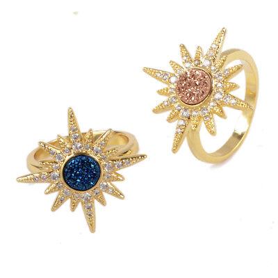 Sun Bezel Ring - 5Pcs 6mm Sun Starburst Titanium Rainbow Druzy Ring Gold Plated Bezel DIY BZG249
