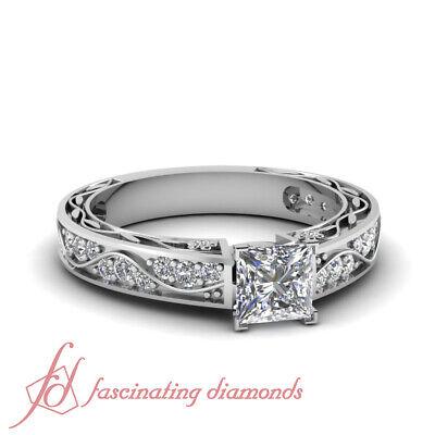 1 Ct Princess Cut:Ideal Diamond Vintage Style Pave Set Engagement Ring VS2 GIA