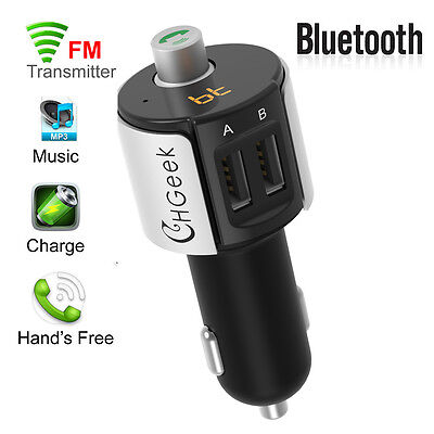 Bluetooth Car FM Transmitter Wireless Radio Adapter USB Charger For iPhone 5 6 7