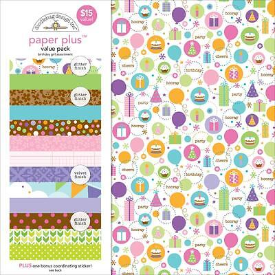 (Scrapbooking Crafts 12X12 Paper Kit Doodlebug Birthday Girl Presents Pink Dots)