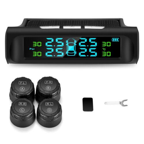 Solar Tpms Car Tire Pressure Alarm Monitoring System 4 External Automatic Alarm
