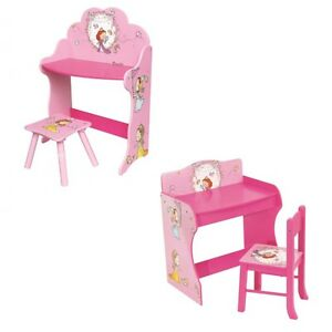 Girls Princess Pink Table & Chair Play Study Wooden Desk