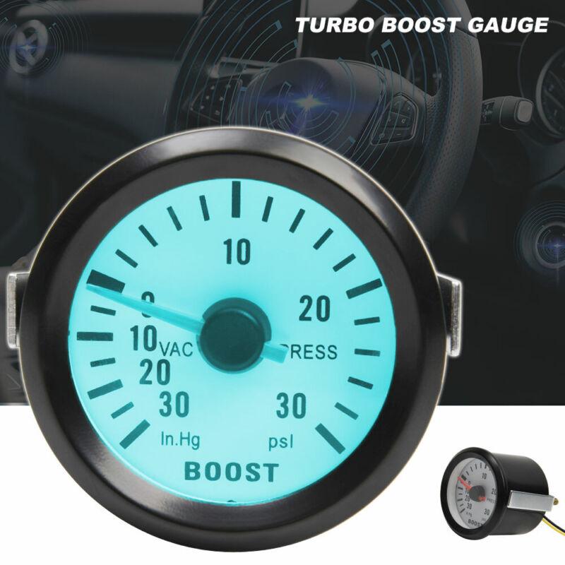 52mm Turbo Boost Pressure Pointer Gauge Meter Smoked Dials 30Psi Pob LED Kits UK