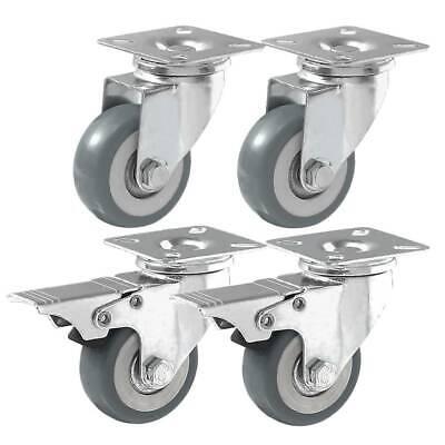 4 Pack 2 Caster Wheels Swivel Plate Casters On Grey Pu Wheels Combo