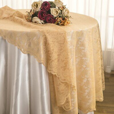 """Wedding 72"""" Square Lace Table Overlays Toppers Lace Tablecloths Champagne"""