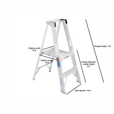 8 Ft. Reach Aluminum Platform Step Ladder With 300 Lb. Load Capacity Type Ia D