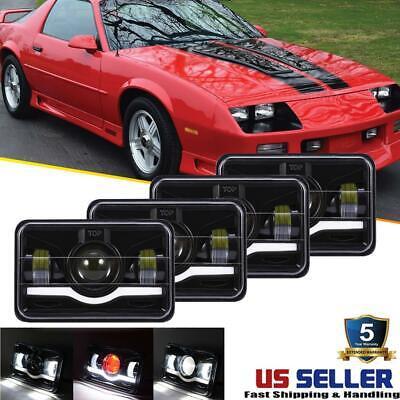 "4PCS 4x6"" Cree LED Headlight DRL Hi-Lo Sealed Beam for Chevrolet Camaro Kodiak"
