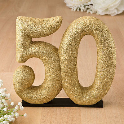 50th Anniversary Centerpieces (50th Anniversary Gold Cake Topper 50 Birthday Cake Top  or Table)