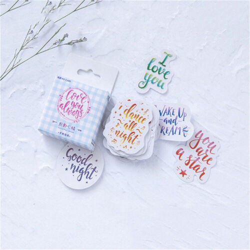 45Pcs/Box Mini Kawaii Scrapbooking Diary DIY Album Stickers Colorful Mood Label