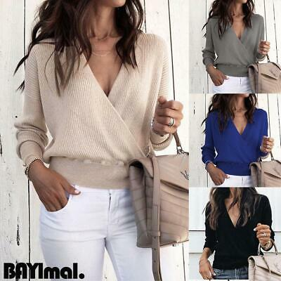 Womens Sexy Deep V Sweater Ladies Casual Long Sleeve Jumper Pullover Blouse Tops