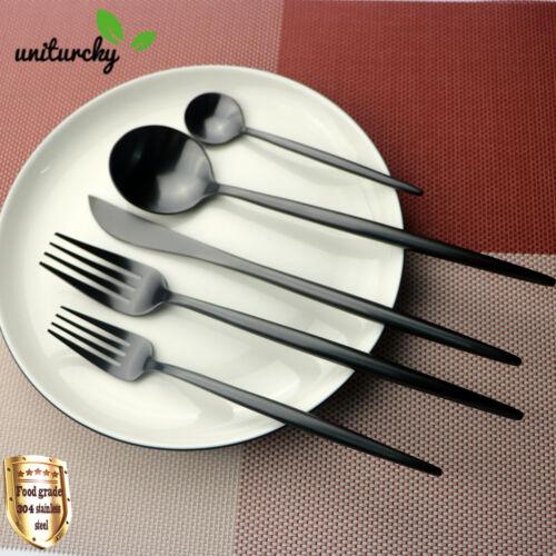 Luxury 304 Stainless Steel 18/10 Black Dinnerware Cutlery Set Knife Fork Spoon