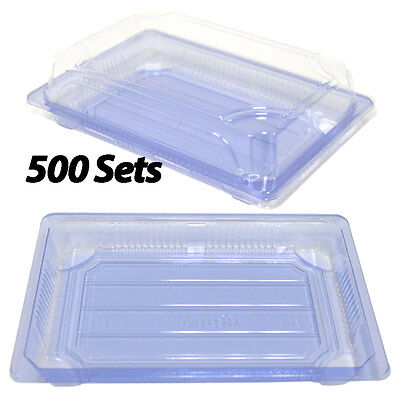 """Clear Sushi Containers 7"""" x 5""""  (500 Sets) Plastic Sushi Box/Takeout/To Go"""