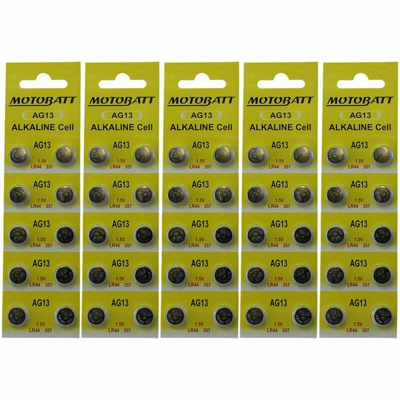 50 AG13 LR44 L1154 357 A76 BATTERY SHIPS FROM USA ON RETAIL CARDS MOTOBATT